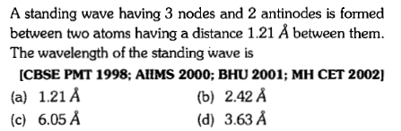 A standing wave having 3 nodes and 2 antinodes is formed between two atoms having a distance 1.21 Å between them. The wavelength of the standing wave is CBSE PMT 1998; AlHMS 2000; BHU 2001; MH CET 2002] (a) 1.21A (c) 6.05 A (b) 2.42 A (d) 3.63 A