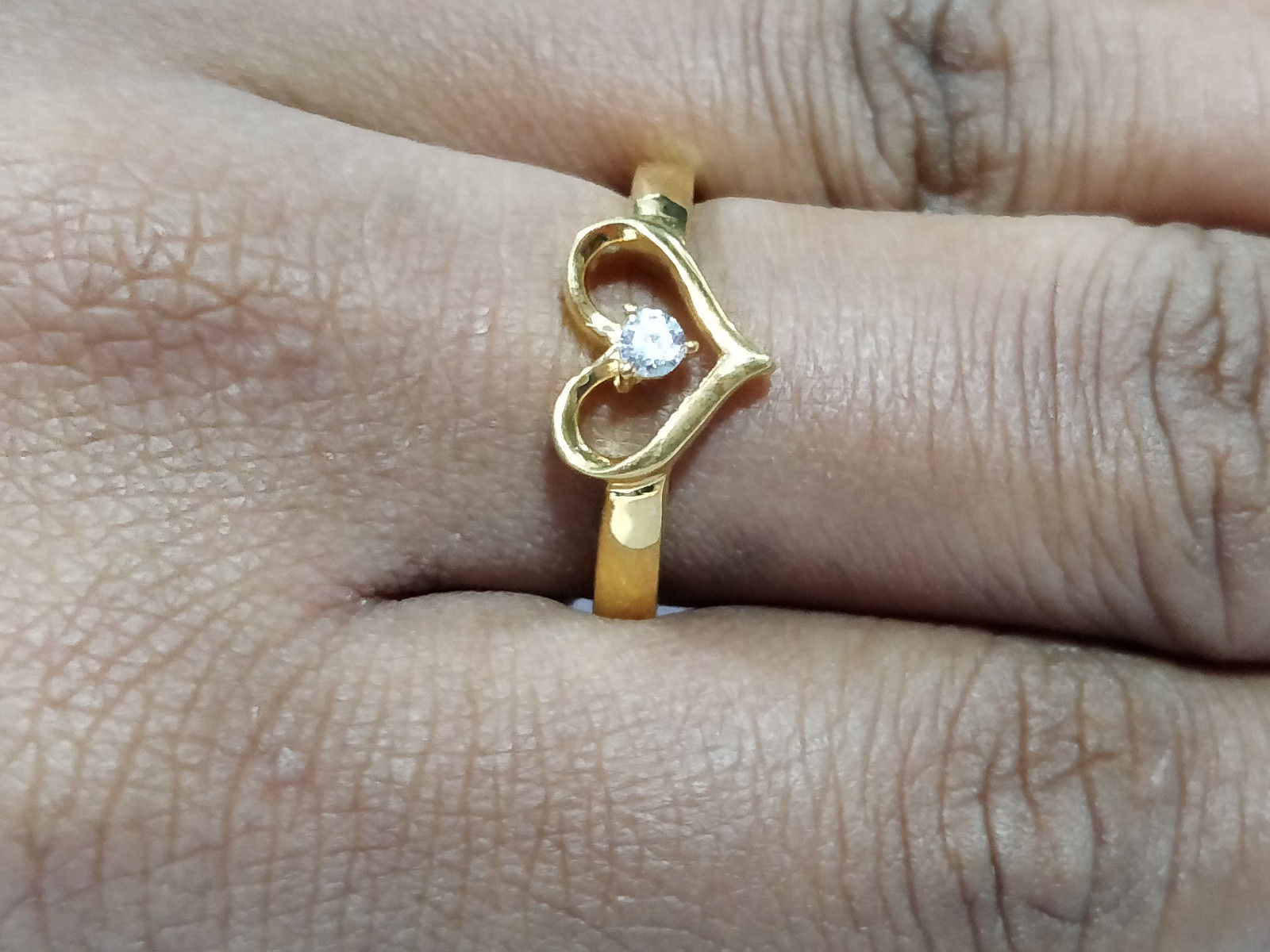 0.10 Ct 14K Yellow gold Over  Round Cut Heart Diamond Engagement & Wedding Ring