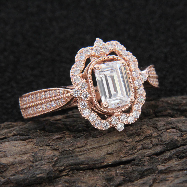 Emerald Cut Diamond Halo Vintage Style Engagement Ring 14k