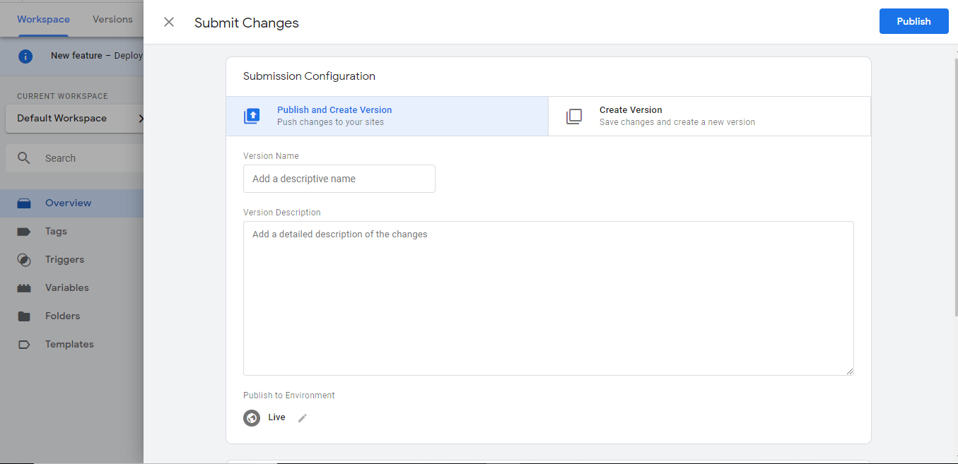 Submit in Google Tag Manager