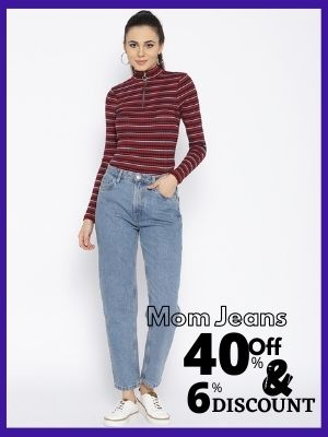 Buy Mom jeans from myntra and get upto 40% Discount and flopoffer cashback upto 6%