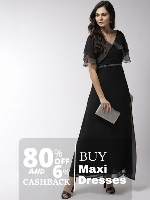 Buy beautiful maxi dress from myntra at discount of 80% also earn cashback upto 6% from flopoffer
