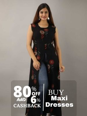 Flipkart is offering 80% discount on Maxi dress also earn cashback upto 6% from flopoffer