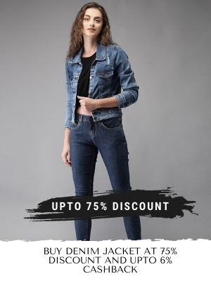Stylish collection of Denim jackets for women at 75% discount also get upto 6% cashback from flopoffer