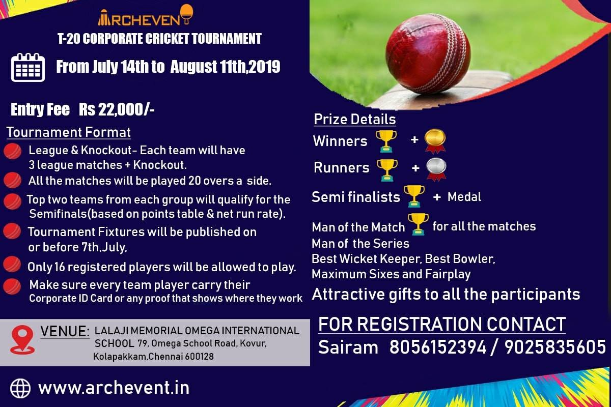Playmatches | Archevent Presents T20 Corporate Cricket