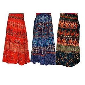 d8597dee54 BILOCHI'S Women's Traditional And Jaipuri Print Cotton Wrap-around Skirt  Combo Pack of 3 pec( Multi-Coloured,Assorted Design & Assorted Color).