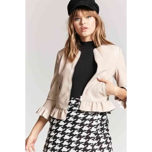 cce01e41373 FOREVER 21 Faux Leather Ruffle Trim Jacket
