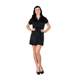 ca3d57b95a Shararat Sexy Honeymoon Satin Nighty   Gown   Robe For Women   Ladies and  Girls Nightwear   Dress Sleepwear   Nighty Set (Black)