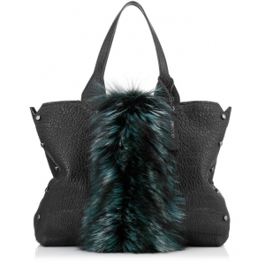 46d8015025 Jimmy Choo LOCKETT SHOPPER Black Grainy Leather Tote Bag with Bottle Green  Fox Fur
