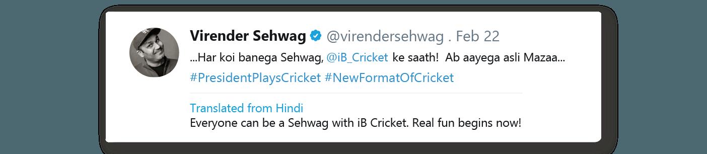 Virender Sehwag tweeted about iB Cricket