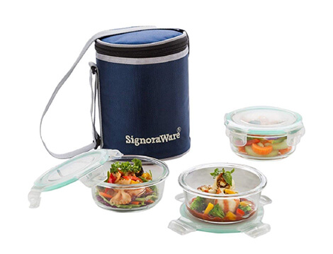 Signoraware  Executive Glass Lunch Box With Bag