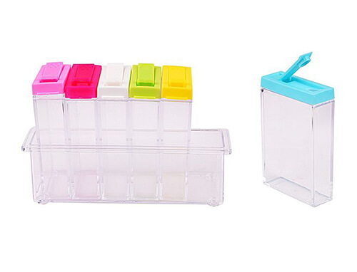 Spice Jar with Colourful Lids (6pc Set)