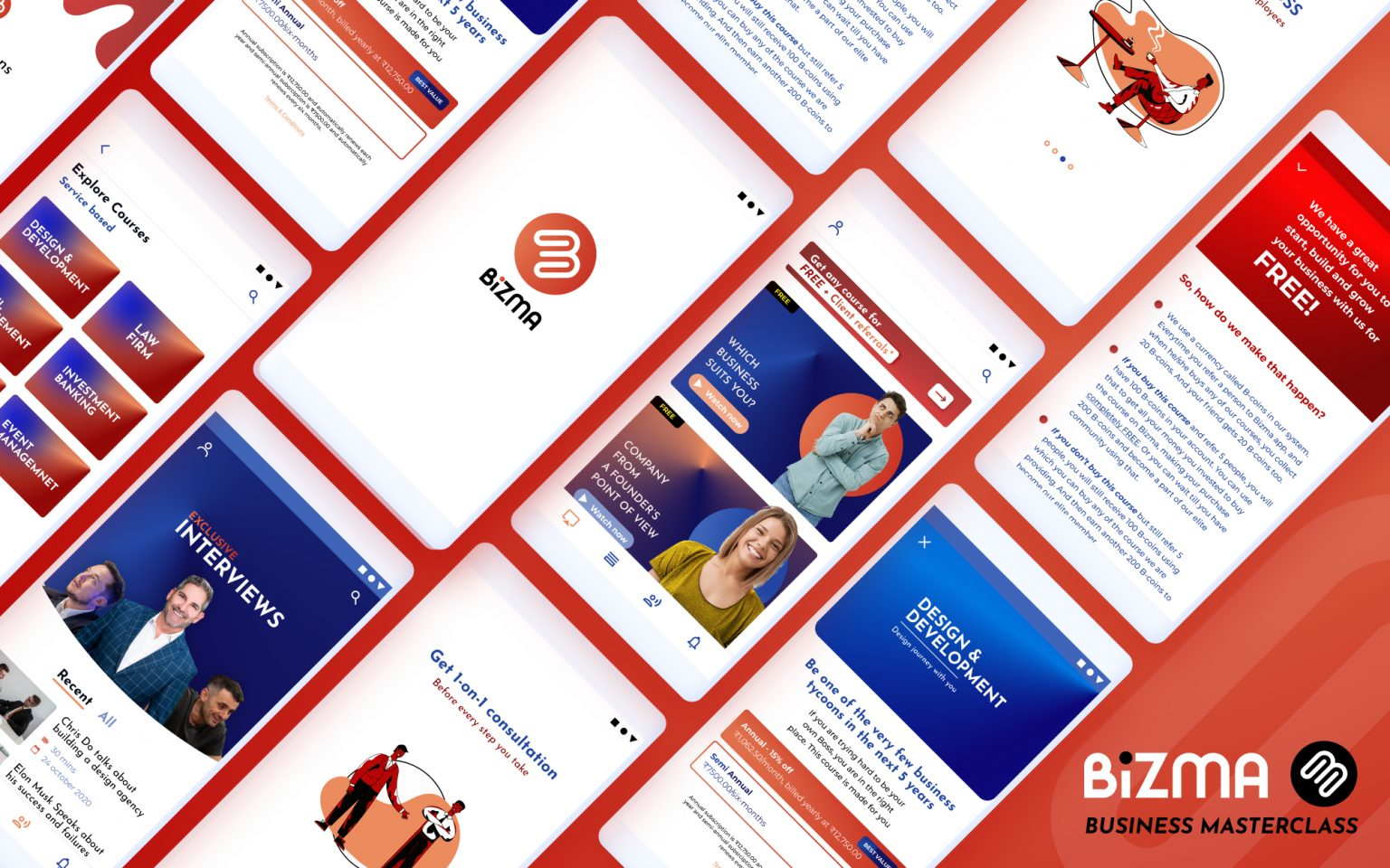 App design for a business masterclass app