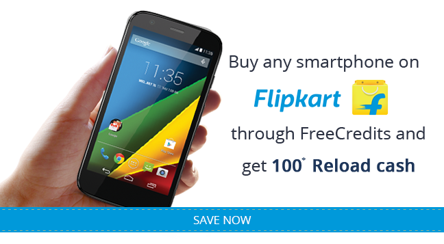 Reload.in cash on purchasing mobile at Flipkart