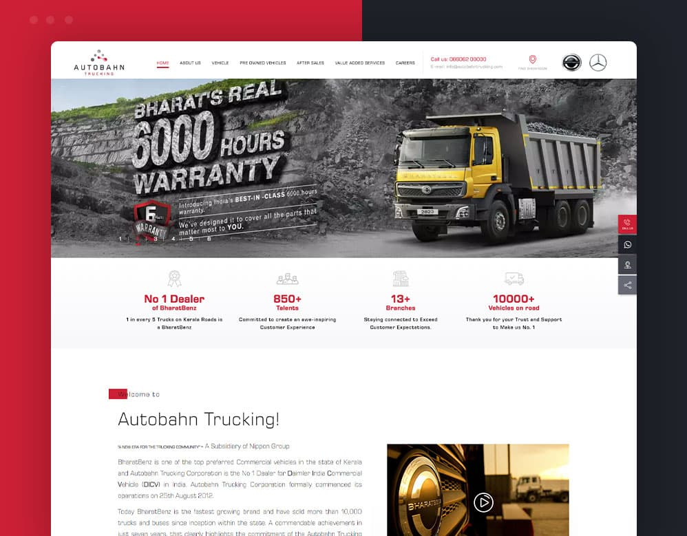 web designing client Autobahn Trucking portfolio