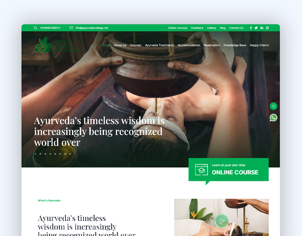 web designing client school of ayurveda portfolio
