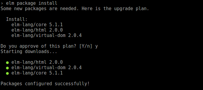 elm package install