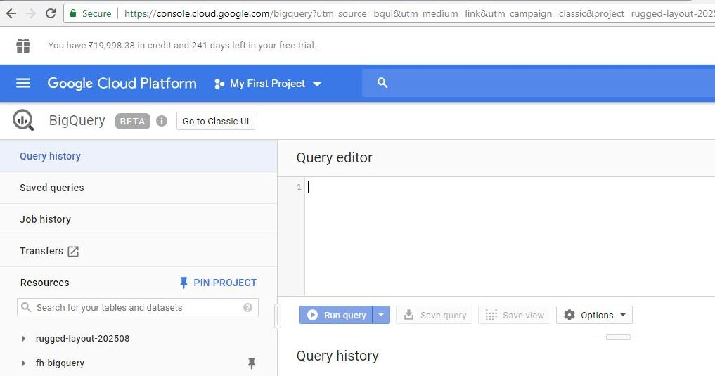 google bigquery getting started guide view console screen