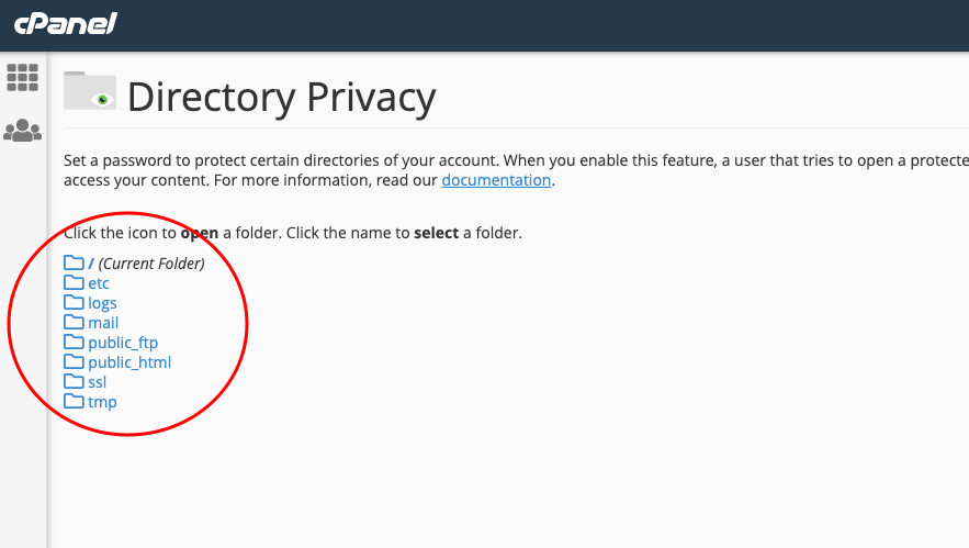 password protect directory with cpanel