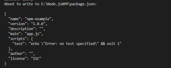 Example of npm init creating package.json file