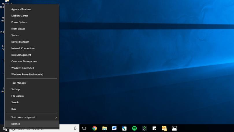 Power menu in windows 10