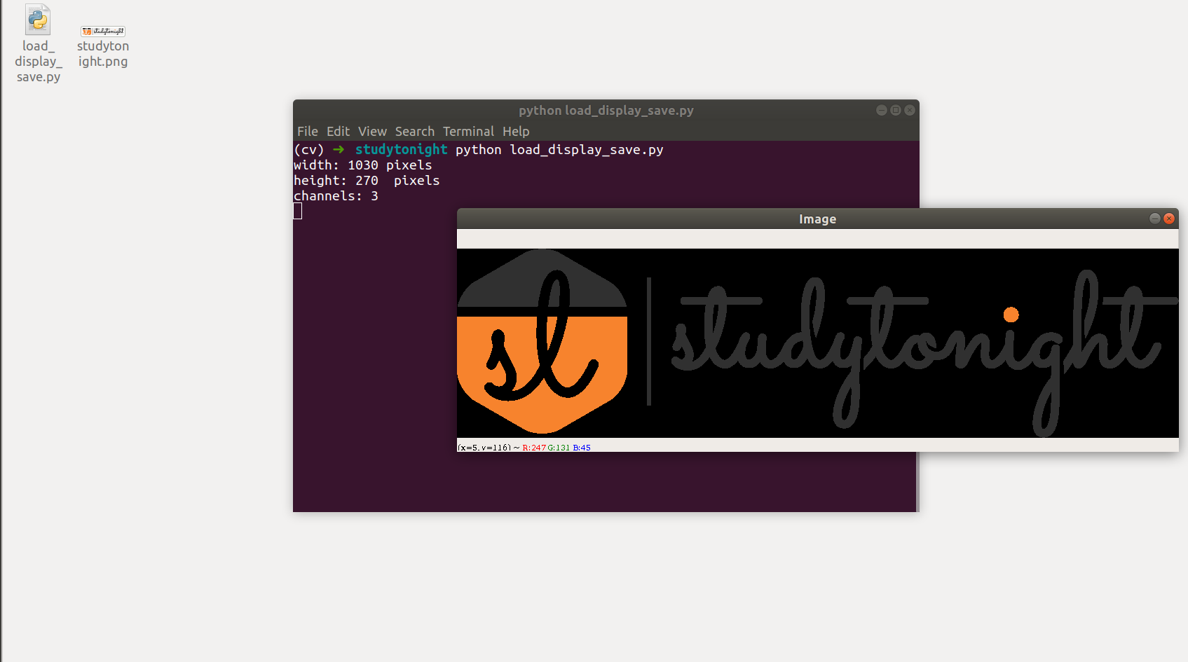 use openCV to load, display and write image