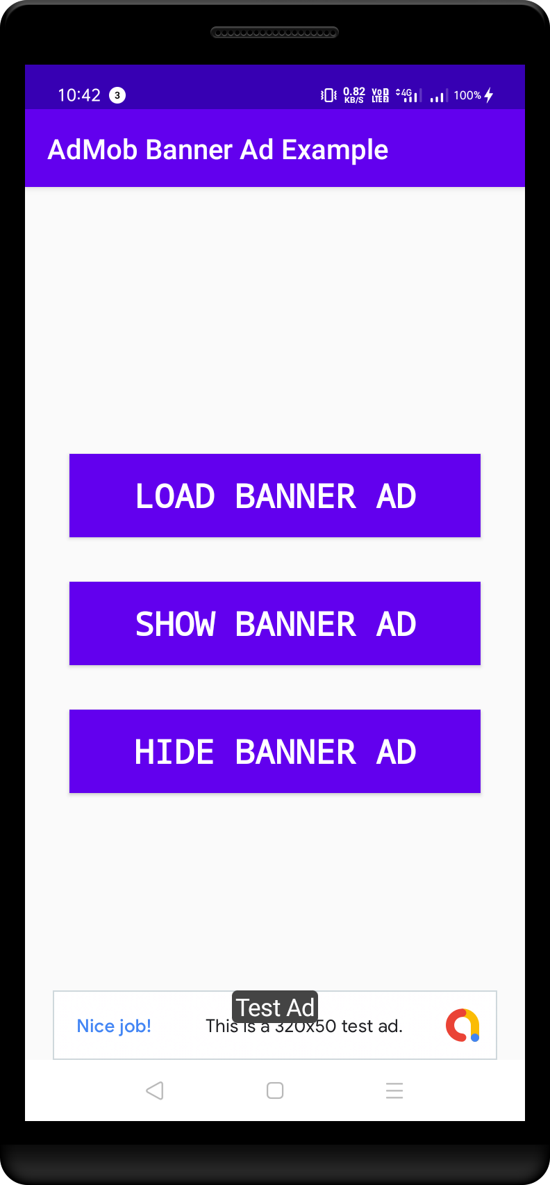Admin Banner Ad Shown at the bottom of the screen