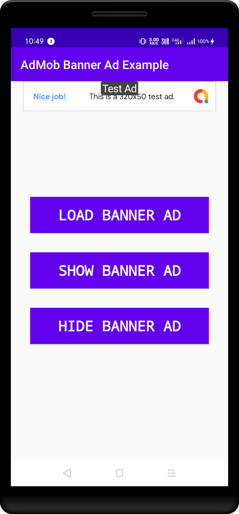 Admin Banner Ad Shown at the top of the screen