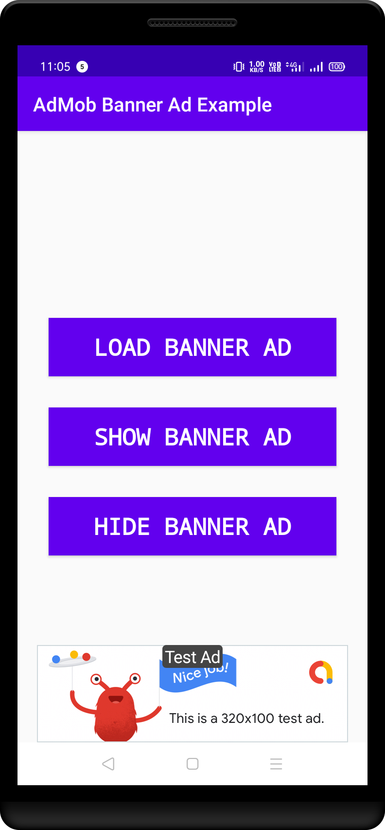 Large Banner Ad Shown at the bottom of the screen