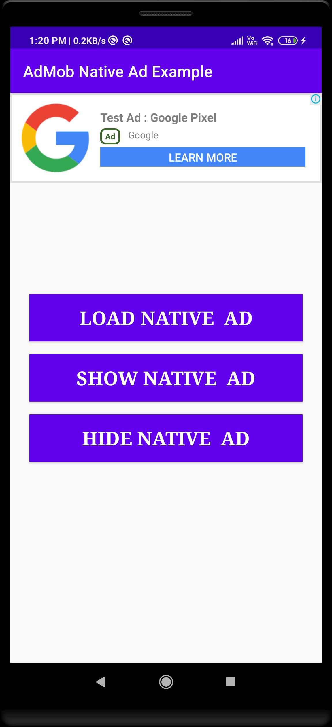 admob native ad example