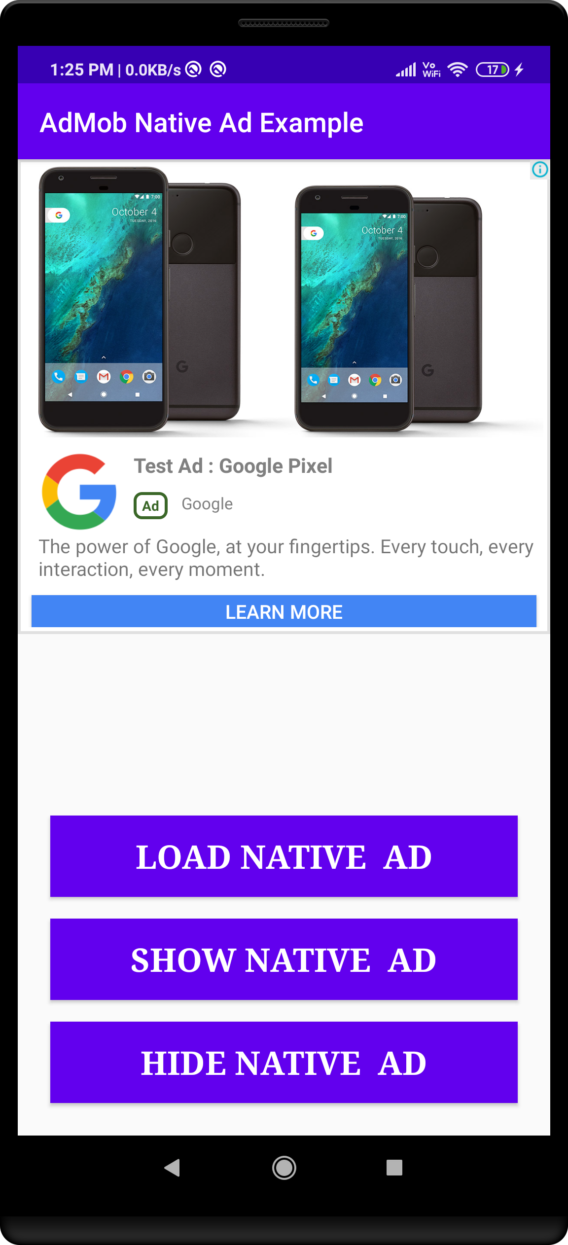 Admob native Ads example