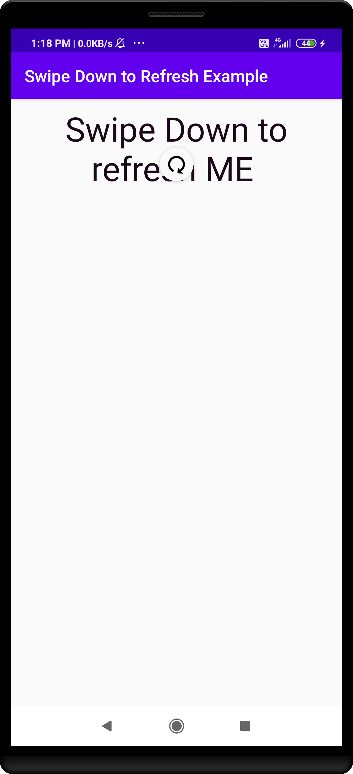 swipe to refresh in Android Code Example