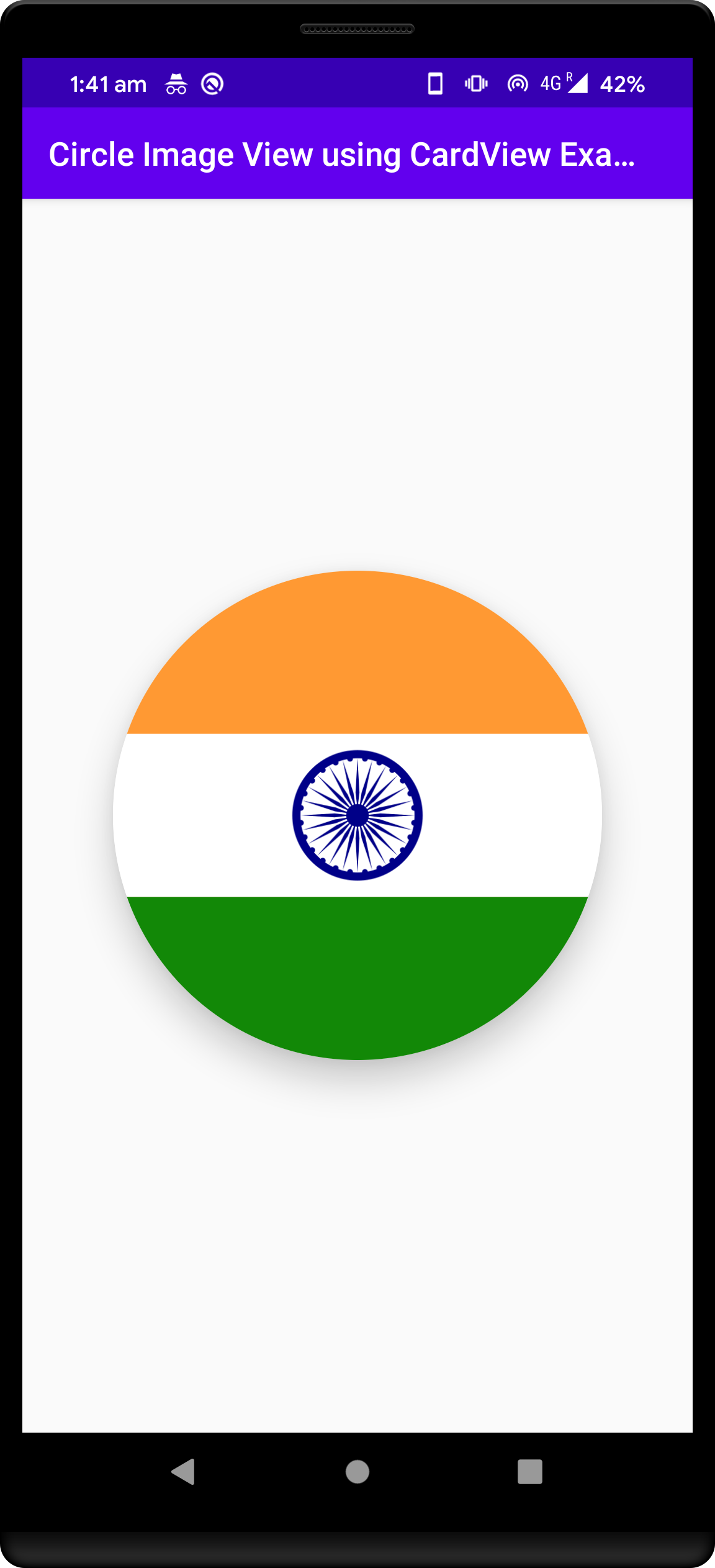 create circle card view in android app