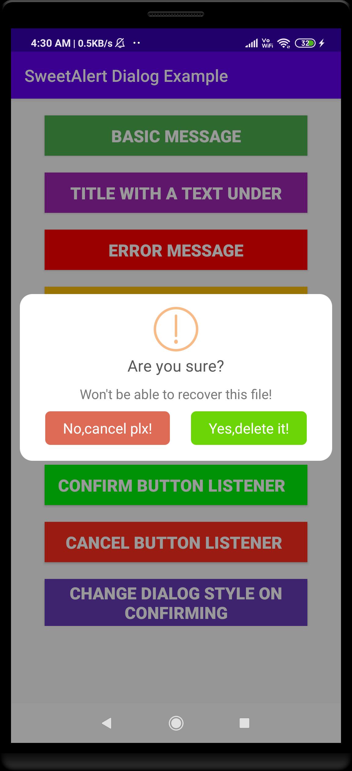 Alert Dialog Using SweetAlert Dialog in Android App