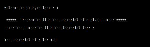 C++ factorial program