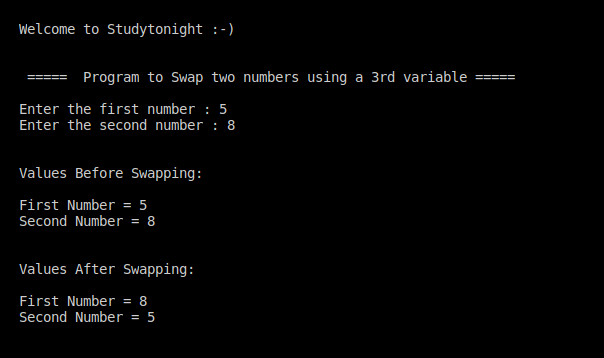 C++ swapping using a temp variable program