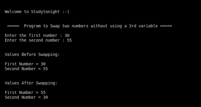 C++ swapping without using a temp variable program
