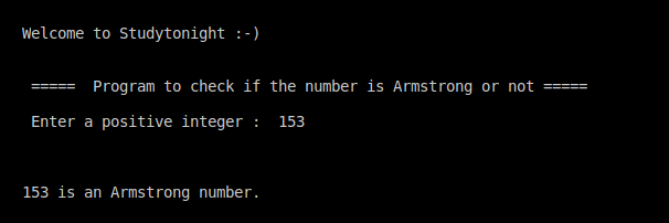 C++ Armstrong number program output