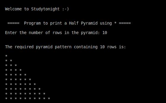 C++ half pyramid