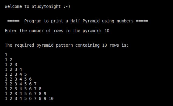 C++ half pyramid using numbers