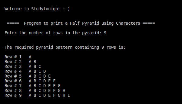 C++ half pyramid using Alphabets