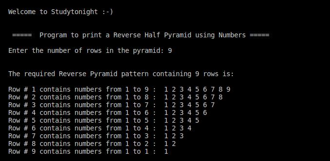 C++ reverse half pyramid using numbers