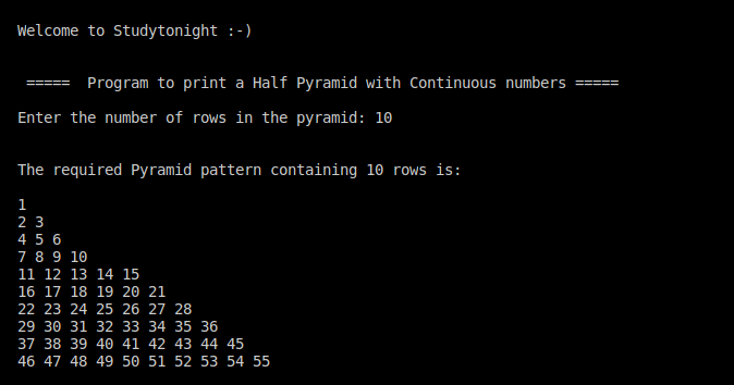 C++ half pyramid using continuous numbers