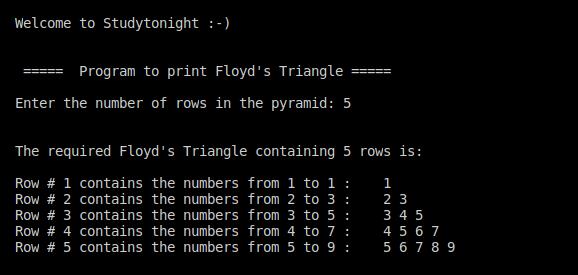 C++ Floyd's Triangle 1