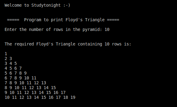 C++ Floyd's Triangle 2