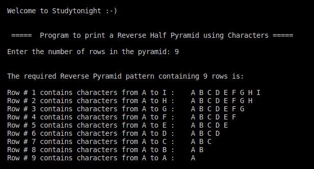 C++ reverse half pyramid using characters
