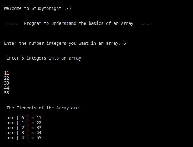 C++ Intro to  example