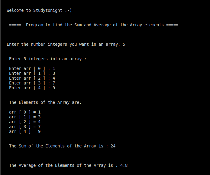 C++ Sum and Average of array elements