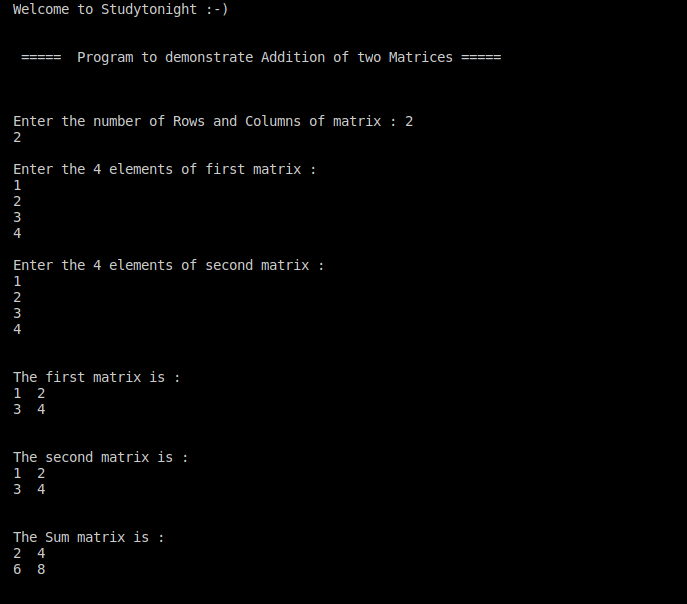 C++ Addition of two matrices
