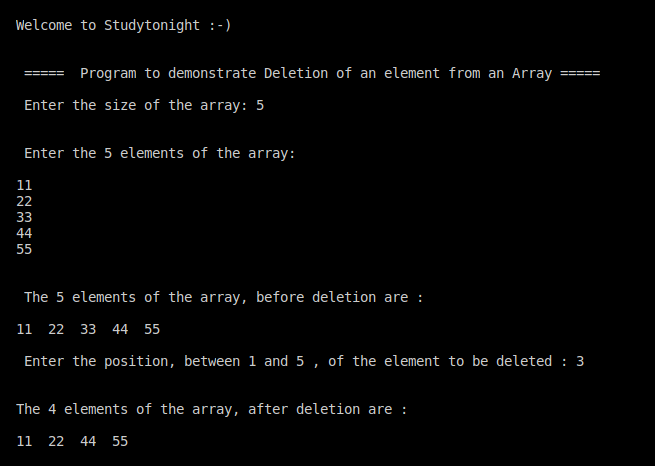 C++ deletion of an array element